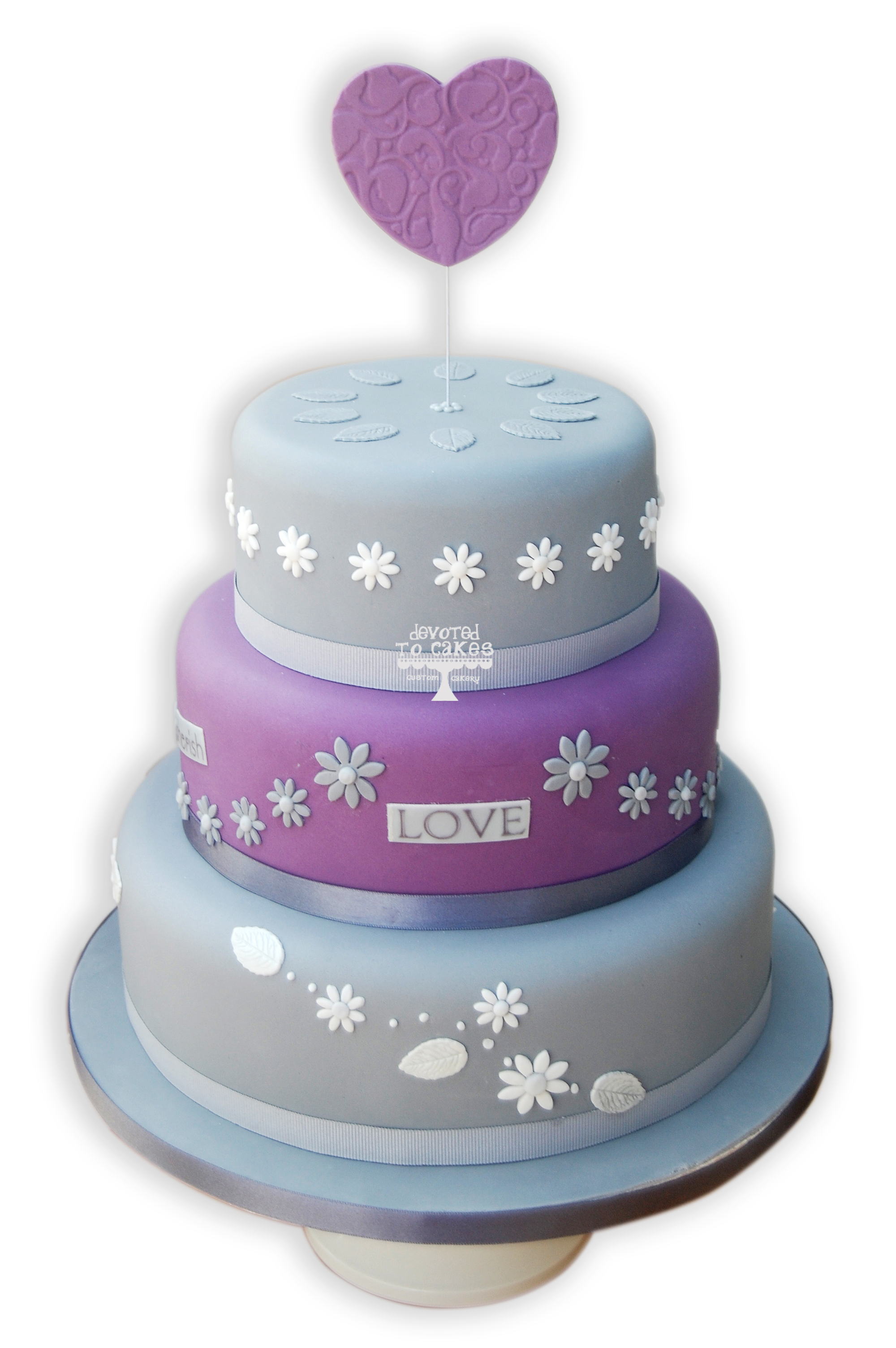 Silver and Purple Wedding Cake