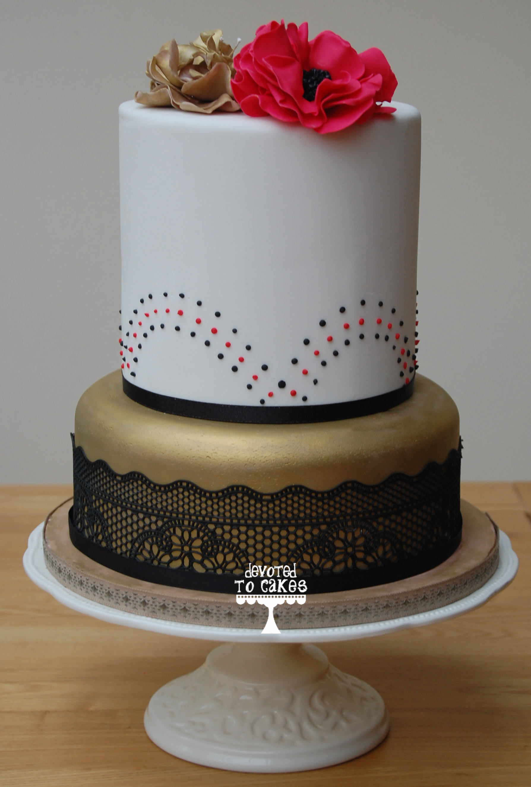 Gold Red and Black Vintage Wedding Cake Devoted To Cakes